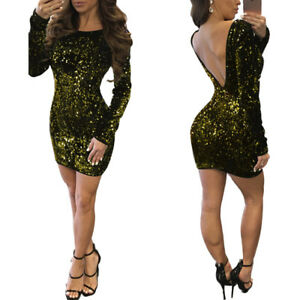 Women-Backless-Sequins-Shiny-Casual-Bodycon-Night-Club-Party-Slim-Mini-Dress