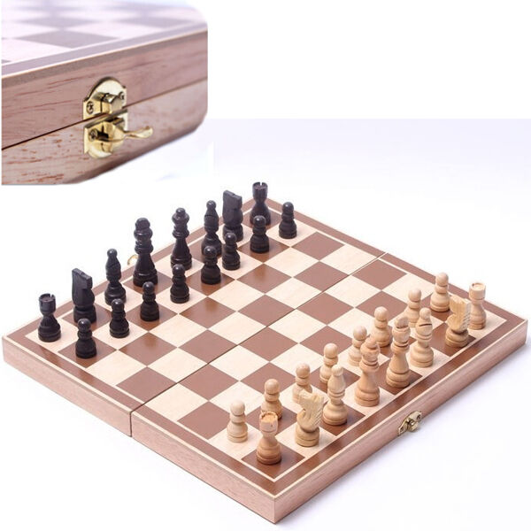 Chess Board Game Set Foldable Inlaid Wood Wooden Weighted Pieces