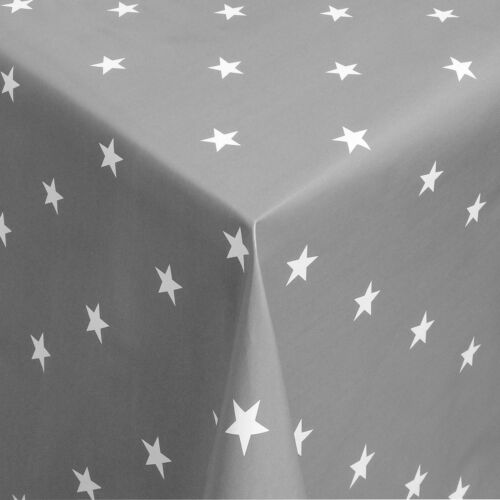 Wachstuch Tischdecke Meterware Sterne weiss auf grau eckig rund oval 01280-07