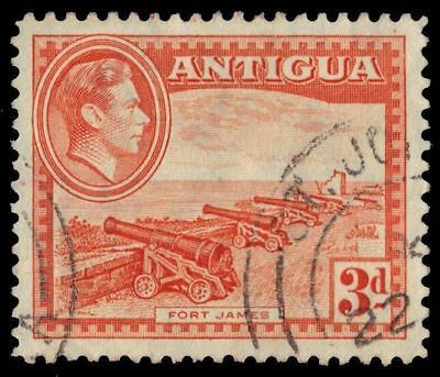 "Selected Material Sensible Antigua 89 - King George Vi ""fort James"" 1944 Pale Orange sg103i pf93696"