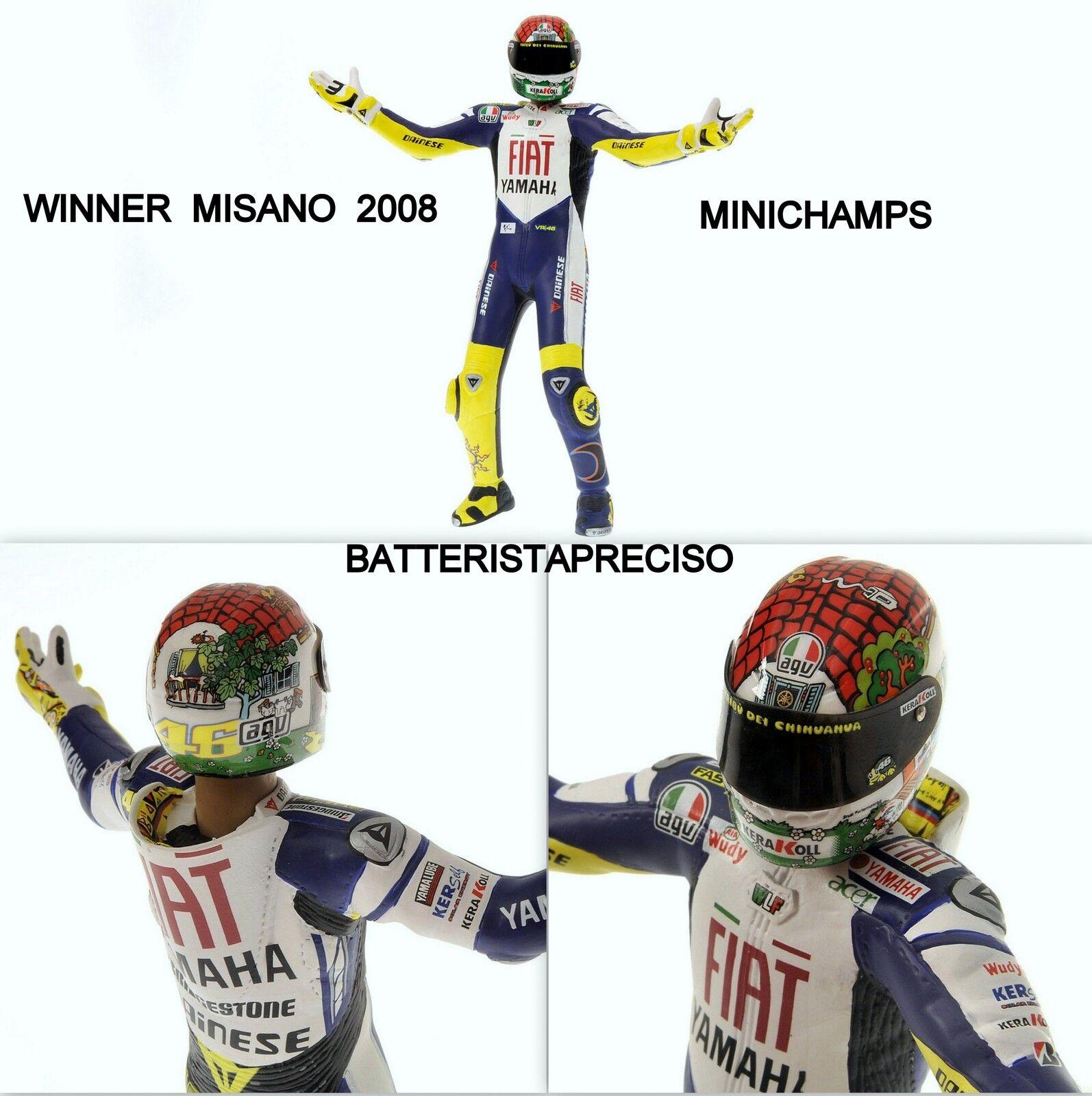 MINICHAMPS VALENTINO ROSSI 1/12 PILOTA  2008  GP MISANO FIGURE NOVITA'  FIGURINE