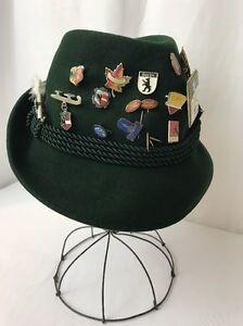 3a8165743 Details about Vtg Women's Small German Bavarian Fedora Hat Alpine Felt 21  Pins 1960's Olympics