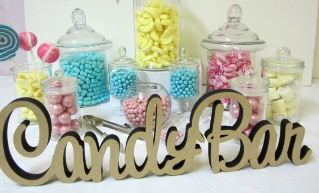 Candybar Wooden Sign Freestanding Raw MDF Candy Bar Sign Candy Buffet Sign