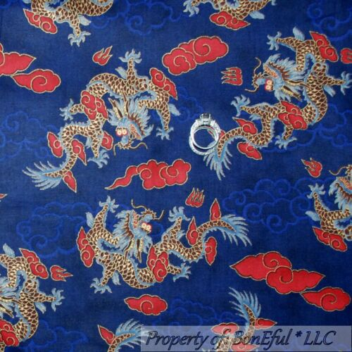BonEful FABRIC FQ Cotton Quilt VTG Blue Red Gold Dragon Cloud Asian Chinese Doll