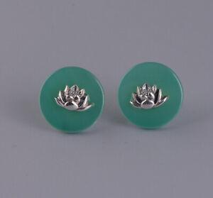 I05-Ohrstecker-Lotusbluete-aus-Sterling-Silber-auf-rundem-gruenem-Achat-Ohrring