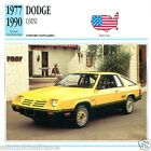 DODGE OMNI 1977 1990 CAR VOITURE USA ETATS-UNIS CARTE CARD FICHE