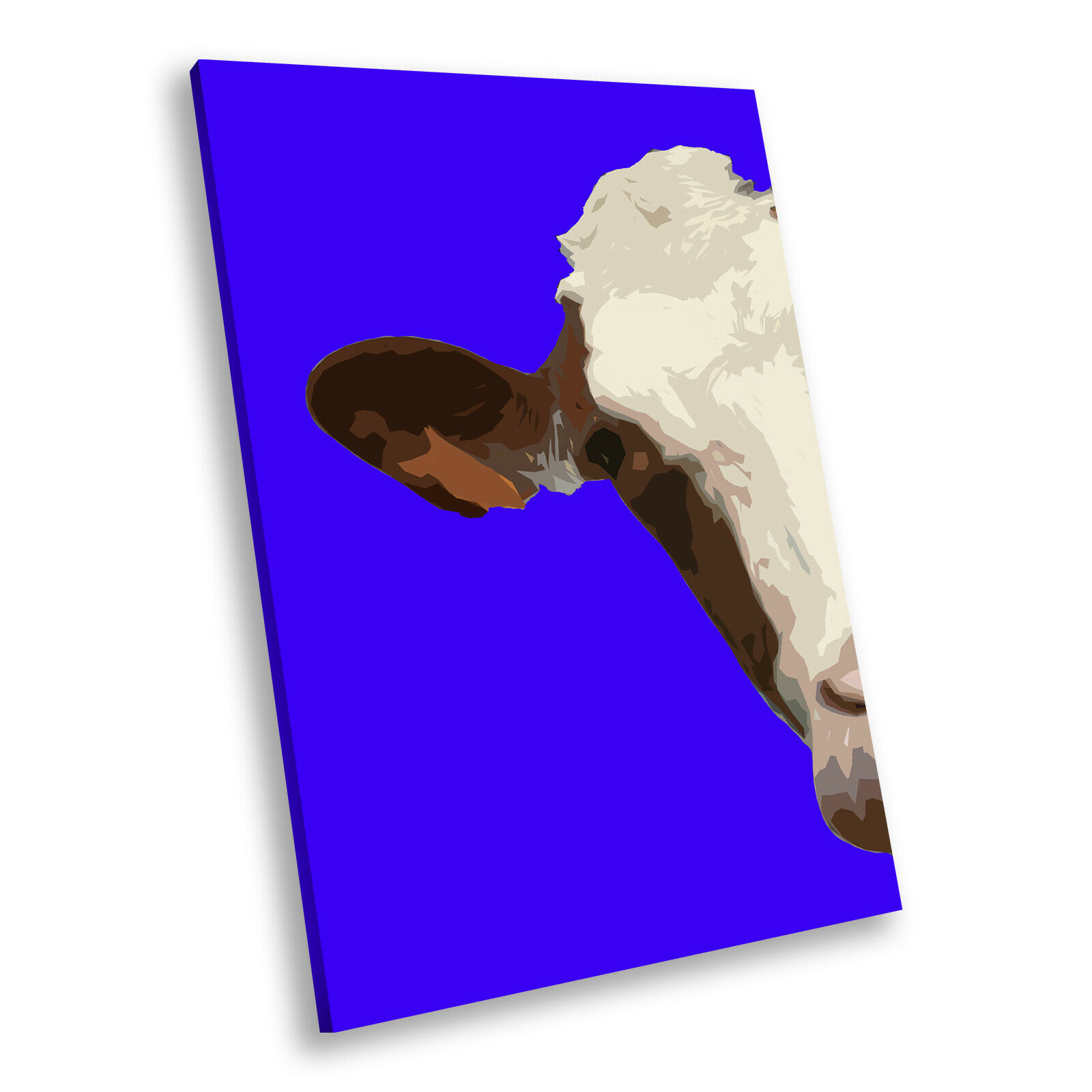 Blau Abstract braun Cow  Portrait Animal Canvas Wall Art Large Picture Prints