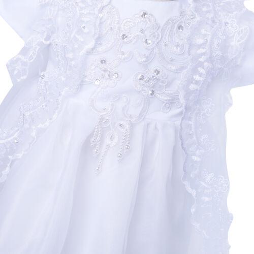 Bonnet Infant Baby Girl Wedding Baptism Christening Easter Gown Flower Dress