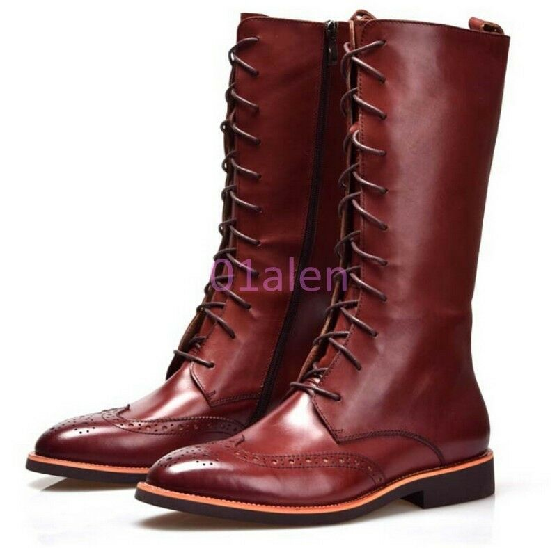 Mens Wing Tip Brogue Long Zip KNee High Zip Boot Lace Up Pointy toe Riding Shoes