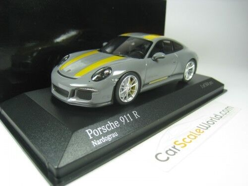 PORSCHE 911 R (991) 2016 1 43 MINICHAMPS (NARDO GREY  YELLOW STRIPES)