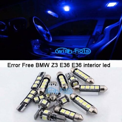 11Pcs Blue Canbus Interior LED bulb Light Kit For 1996-2002 BMW Z3 E36 E36 M