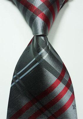 Classic Black Gray Red 100% New Jacquard Woven Silk Men's Tie Necktie
