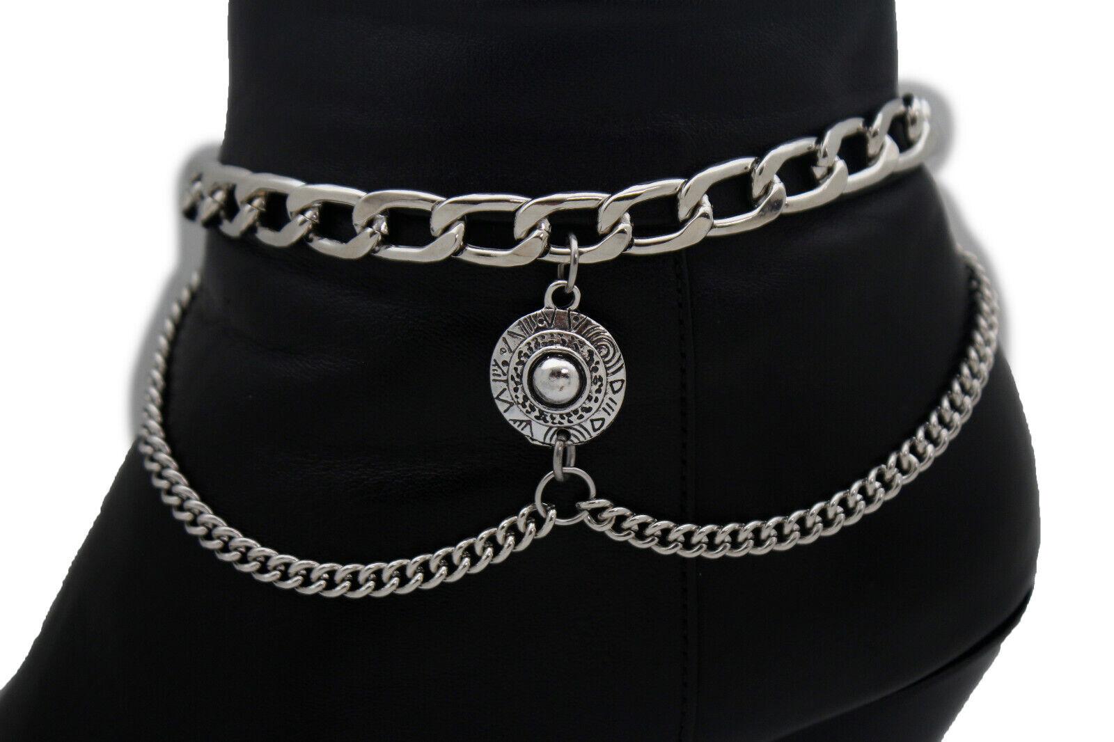 Women Silver Boot Metal Chain Bracelet Ethnic Coin Shoe Charm Jewelry Bohemian