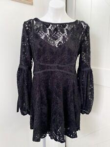 Free People Women's Ruby Lace Mini Dress Black Long Sleeve Size XS OB725148