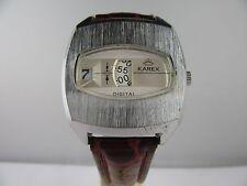 "C188 ⭐⭐ "" Vintage Karex Digital "" Scheibenuhr Handaufzug Lederarmband ⭐⭐"