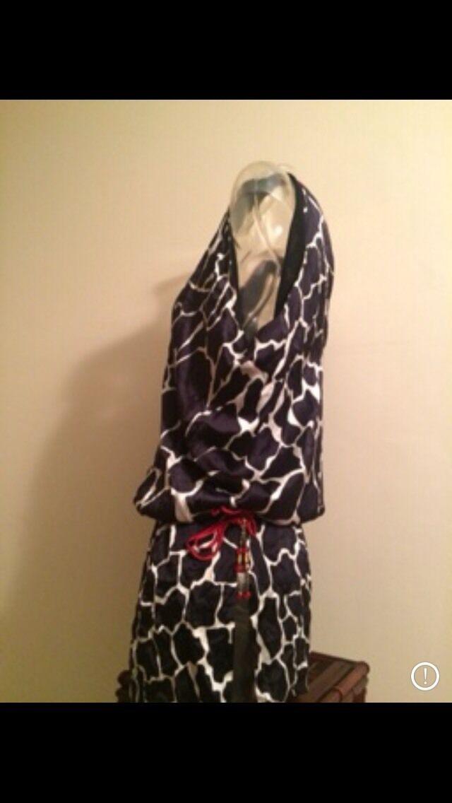 b914b47ebe2a ... Gizia 800 Silk Giraffe Print Dress Off Shoulder Shoulder Shoulder M Sz  40 Tunic Couture 0862f1 ...