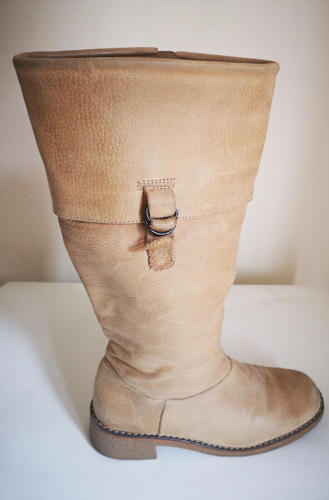 Mujeres botas De Cuero siguiente Rodilla Alto Talla