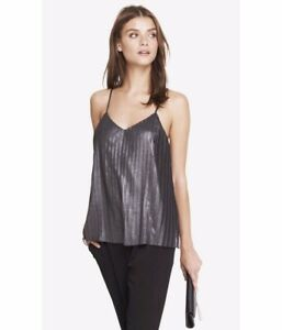 425c85c34a Image is loading New-Express-Metallic-Pleated-Trapeze-Cami-Tank-Top-