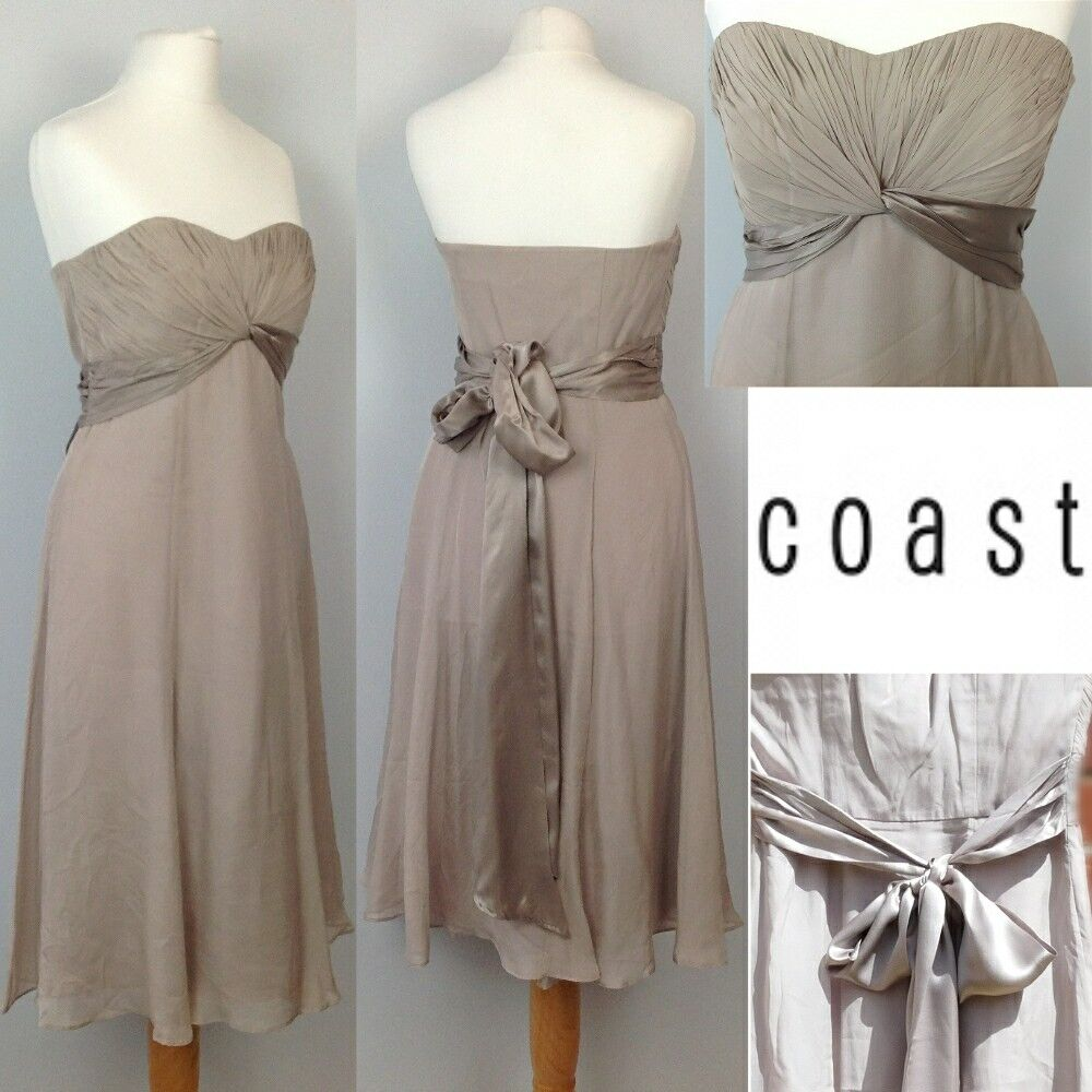 NEW Coast Silk Floaty Strapless Dress 8 Pastel Beige Cruise Party Wedding Races