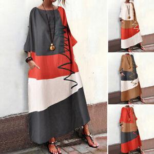 S-5XL-Womens-Long-Sleeve-Shirt-Dress-Vintage-Plain-Party-Dresses-Plus-Size-Loose