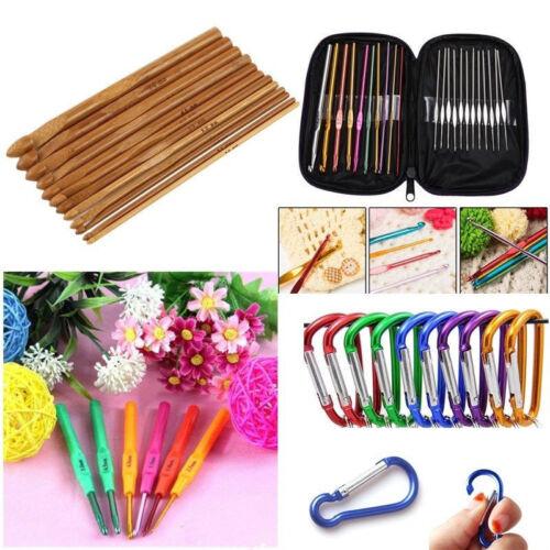 Multi Aluminum Plastic Bamboo Crochet Hooks Knitting Needles DIY Weave Yarn Set