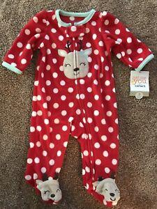 26384ee5eec6 NWT Carter s Fleece Reindeer Red White Polka Dot Sleeper 3 Months