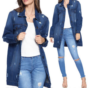 Women's Casual Cotton Button Up Distressed Long Oversized Denim Jean Jacket