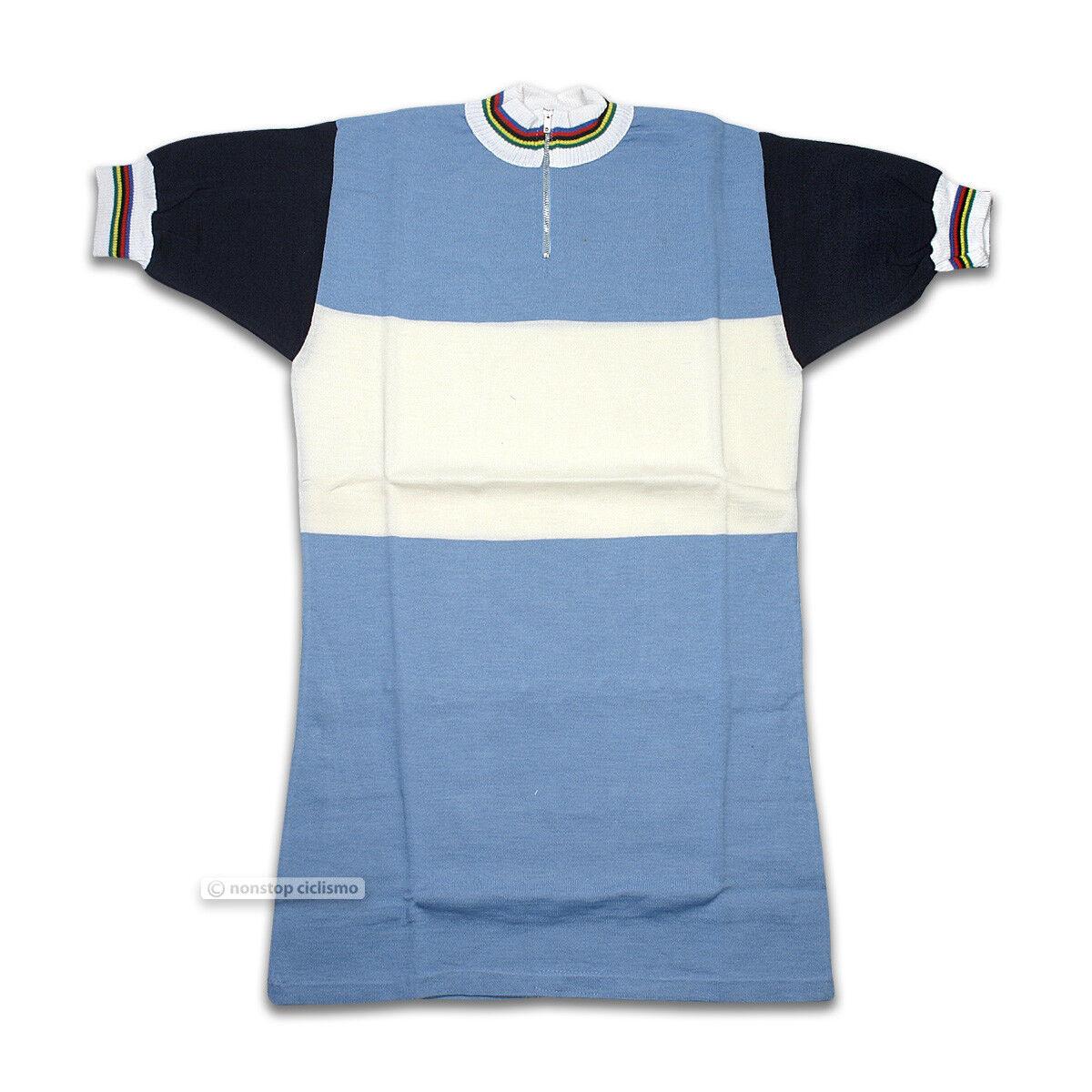 Vintage Moa Sport Wollmischung Eroica Radsport Trikot Azzure/Weiß/Marineblau -