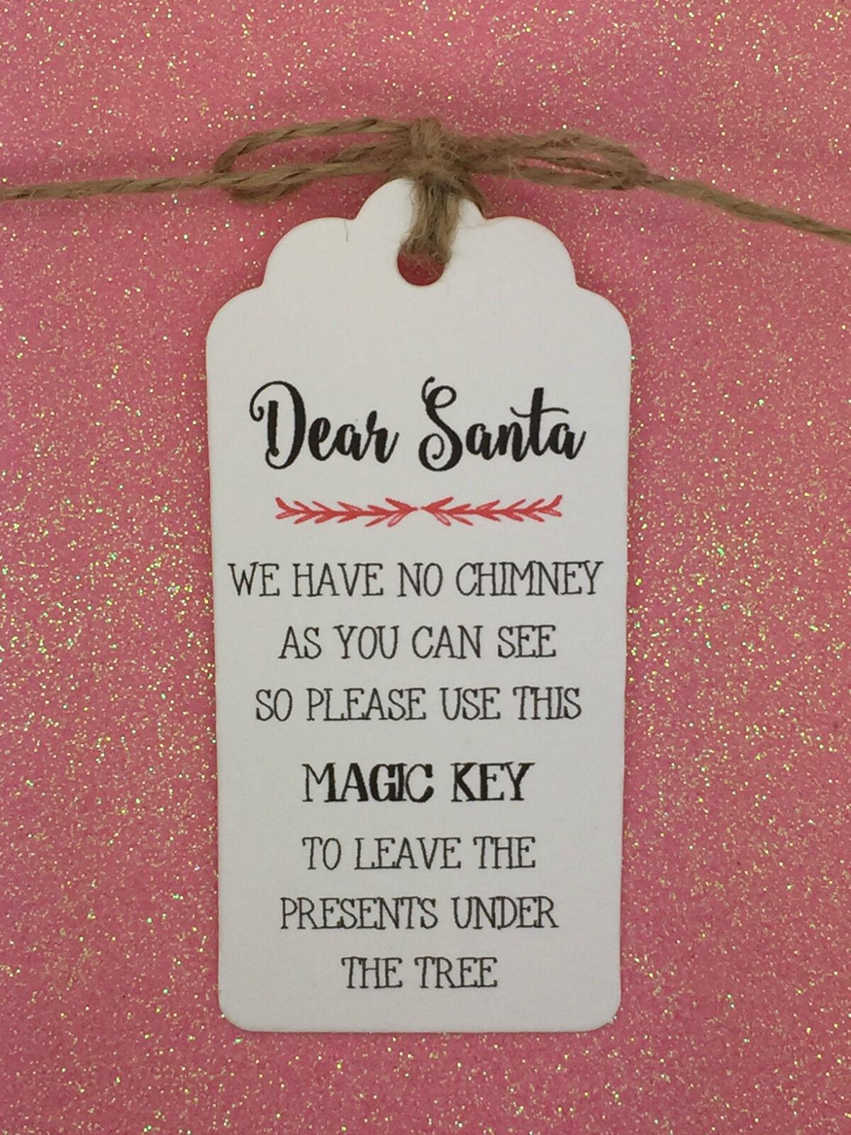 SANTA magic key POESIA-CARTOLINA DI NATALE Etichetta Regalo da regalo, Natale Festa Regalo Etichetta Albero Tie 9df1d0