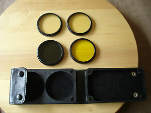 Vintage-Soviet-Set-of-Four-62mmDiferent-Lens-Filters-Y-1-4x-UV-1x-N-4x-Y-2x-420