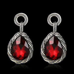 Drop Dangle Vintage Red And Silver Plated Earrings in VELVET GIFT BAG - Torquay, United Kingdom - Drop Dangle Vintage Red And Silver Plated Earrings in VELVET GIFT BAG - Torquay, United Kingdom