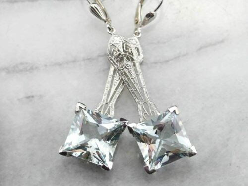 Art Deco Aquamarine Drop Earrings