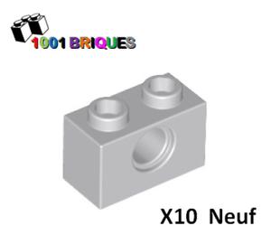 Brick 1 x 2 with Hole Light Bluish Grey Lego 3700 x10 Technic
