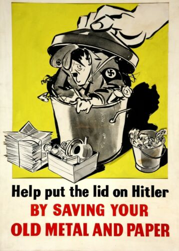 HELP PUT THE LID ON HITLER British WW2 Propaganda Poster A3 250gsm Reproduction
