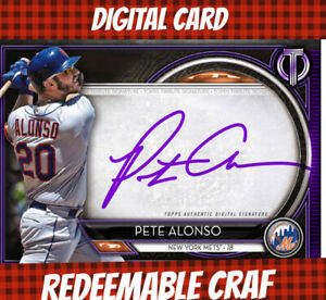 Topps Bunt Digital Pete Alonso Tribute 20 Purple Signature 2020 Redeemable