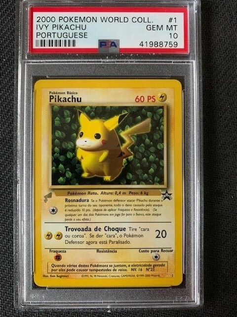PSA 10 Gem Mint - IVY PIKACHU - Pokemon TCG  2000 World Collection Promo