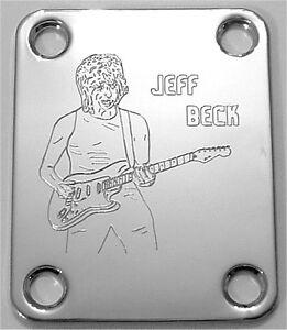 Actif Gravé Gravé Guitar Neck Plate Fender Taille-jeff Beck-chrome-afficher Le Titre D'origine
