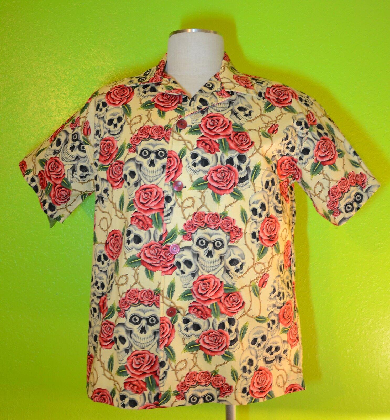 Skulls & pinks Ivory, SOMETHING FISHY Handmade  Shirt, 2XL, Hawaiian, Tropical