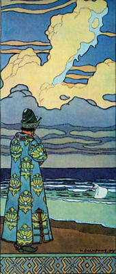 Bilibin Russian Folk Art Print Guidon on the Beach