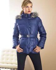 $398 DONNA KARAN DKNY Blue Down Puffer Faux Fur Trim Coat Jacket Sz L Large
