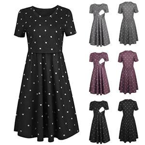 Women-Pregnant-Maternity-Nursing-Dot-Print-Tunic-Summer-Short-Sleeve-Short-Dress