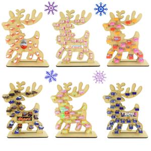 Childrens Reindeer Wooden Reusable Christmas Advent Calendar Chocolate Sweets
