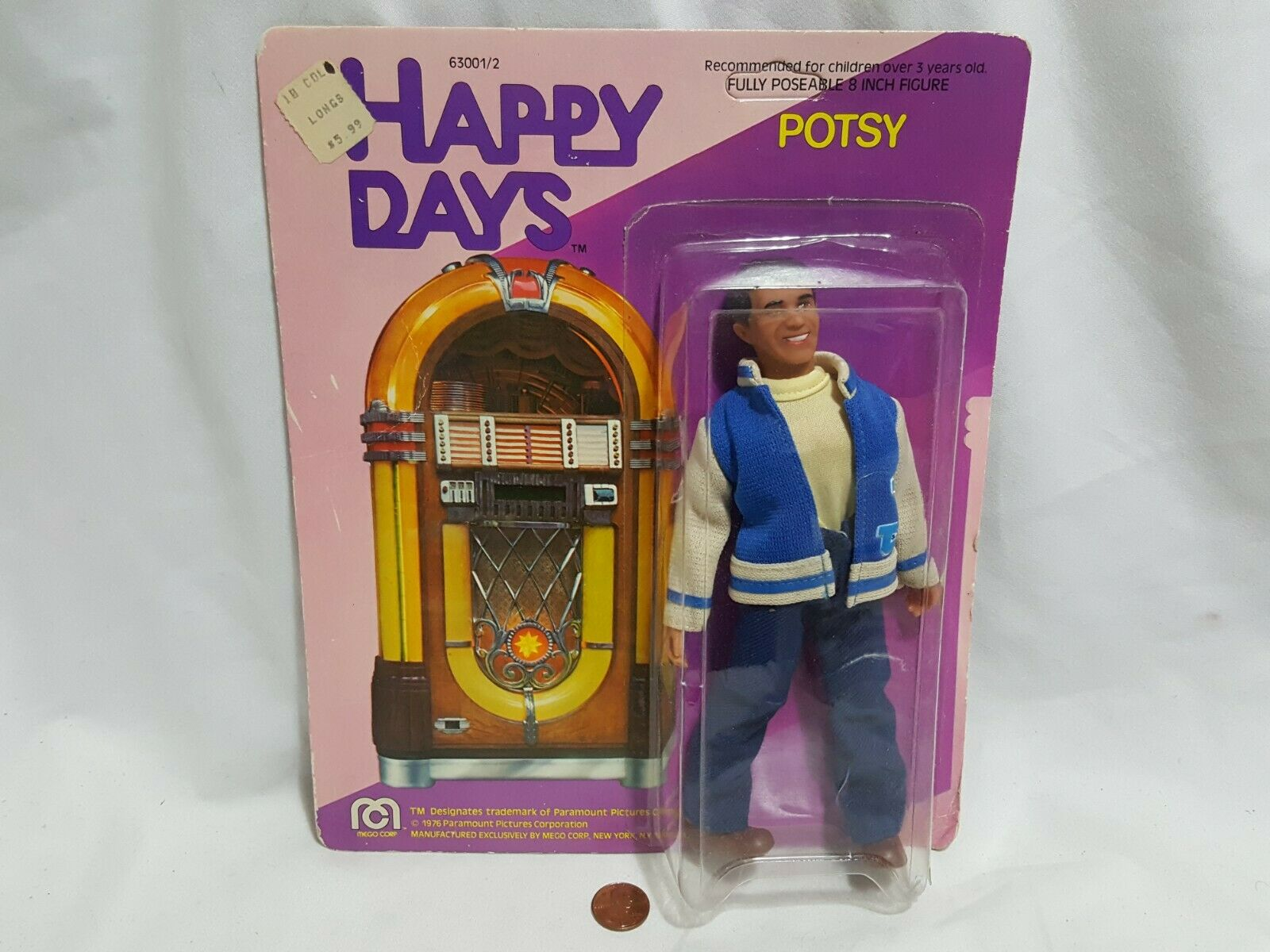nuovo Read Happy Days Potsy Poseable 8 cifra SEALED 1976 Mego giocattolo potsie weber