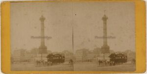 Place-Of-La-Bastille-Omnibus-Paris-France-Photo-ThL4n37-Stereo-Vintage-Albumin