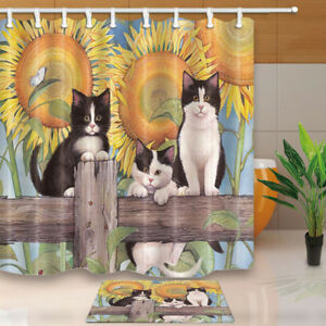 Cute-Cat-on-Wooden-in-Sunflower-Bath-Shower-Curtains-Waterproof-Fabric71X71inch