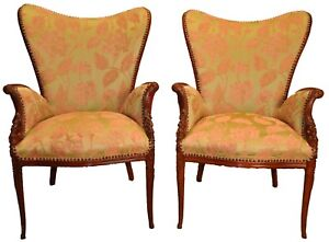 Details About Pair Of Carved Sweetheart Fireside Chairs