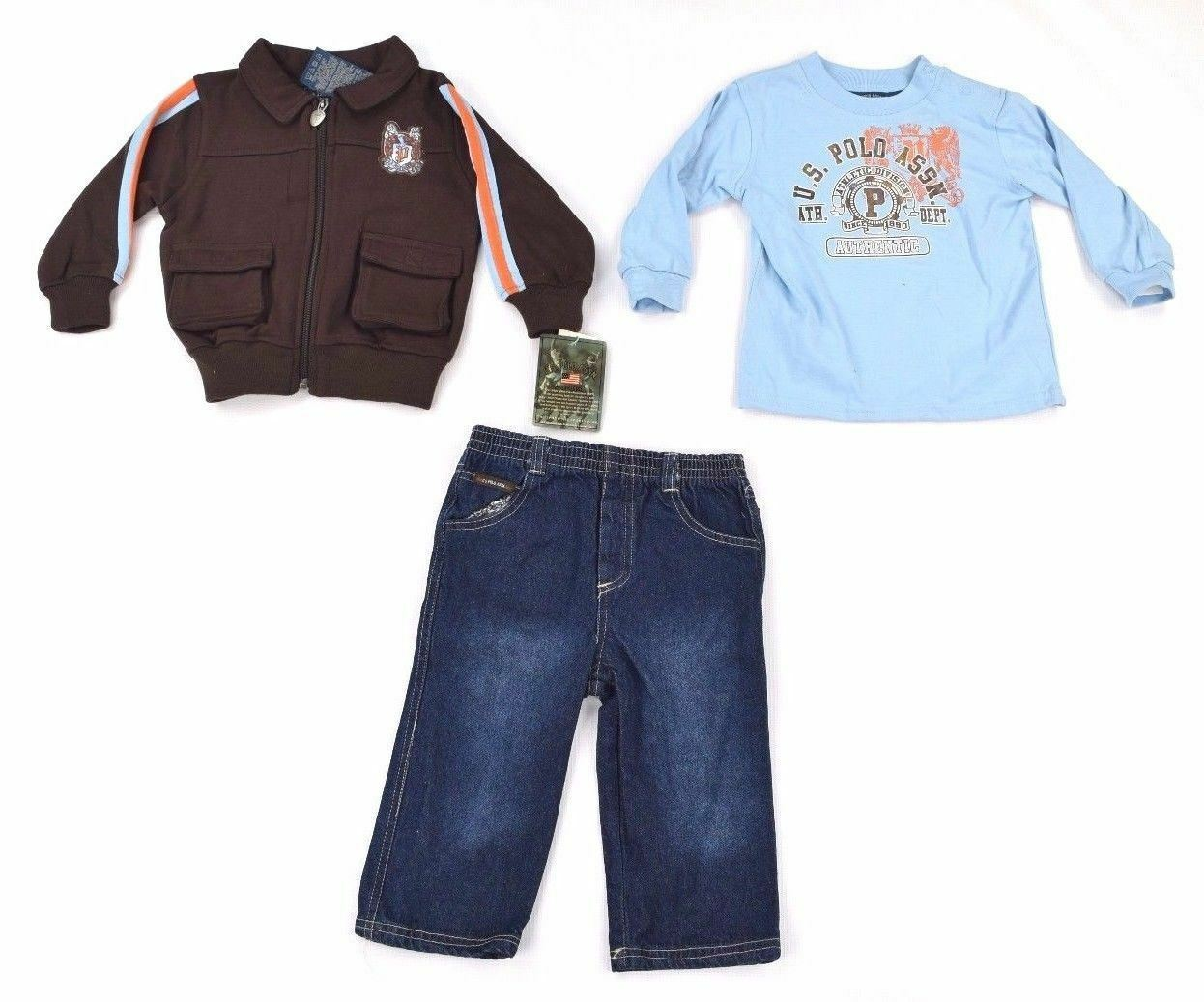 U.S. Polo Boys 3 Piece Set Jacket Polo Shirt Jeans 24M Blue/Coffee Bean
