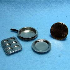 K4016 Dollhouse Miniature Cookware Set ~ Muffin Pan Fry Pan and Pie Dish