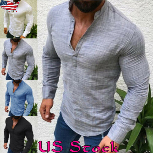 Men V Neck Cotton Linen Long Sleeve Shirt Tops Button Casual Slim Fit Blouse Tee