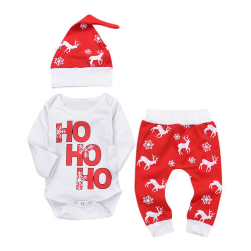 Newborn Baby Clothes Infant Unisex Romper Tops Pants Christmas Deer Outfits Set